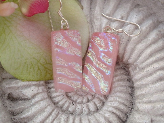 Dichroic Glass Pendant - Dichroic Fused Glass Jewelry -  Coral Peach Sterling Earrings 021912e100