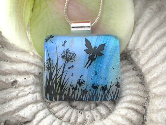 Dichroic Glass Pendant - Petite Fairy Dragonfly Garden - Dichroic Fused Glass Jewelry - Necklace  021214p122