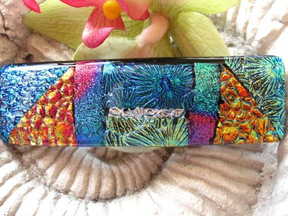 Dichroic Glass Barrette - Hair Barrette - French Barrette - Blue - Fused Dichroic Glass Barrette -  Fused Glass Hair Clip 022712b100