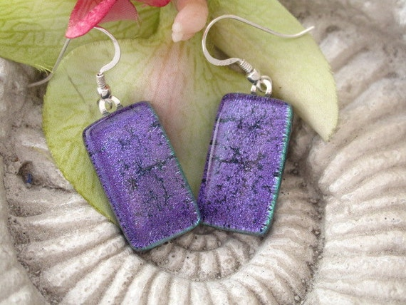 Purple Earrings - Dichroic Fused Glass Jewelry - Dichroic Earrings - Fused  Glass 030912e109