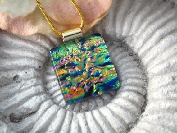 Petite - Dichroic Glass Pendant - Fused Glass Pendant -  Fused Dichroic Glass Jewelry  031612p102