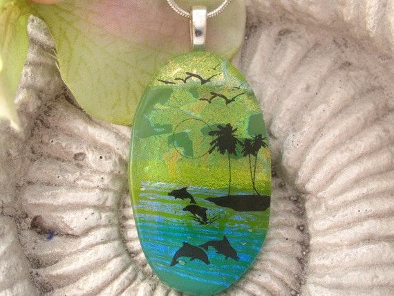 Exclusive Design - Fused Glass Pendant - Captiva Island - Dichroic Fused Glass Jewelry - Dichroic Necklace - Bird - Dolphin 031812p108