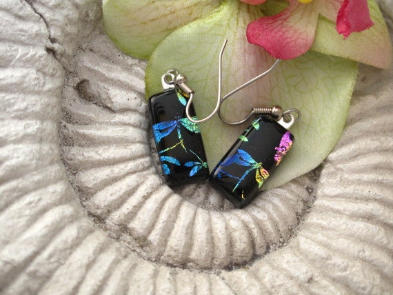 Dichroic Glass Earrings - Dragonfly Rainbow Earrings - Dichroic Fused Glass Jewelry - 032912e102