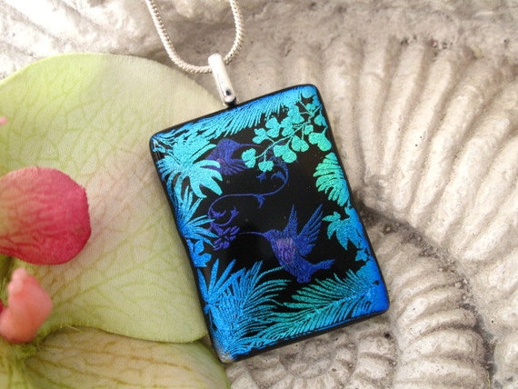 Hummingbird - Dichroic  Fused Glass Jewelry - Fused Dichroic Glass Pendant -  Blue Green - Fused Glass- Necklace 040512p104
