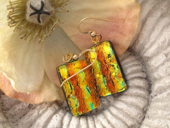 Dichroic Glass Earrings - Dichroic Fused Glass Jewelry - Golden  14KT GF Earrings 040512e122