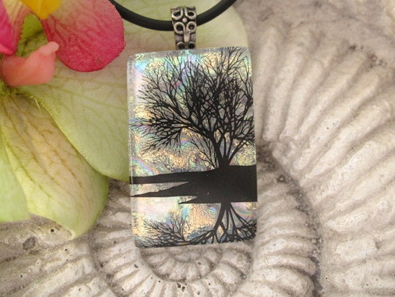 Dichroic Fused Glass Jewelry, Reflection TreePendant - Dichroic Glass - Fused Glass -  Water 041012p101