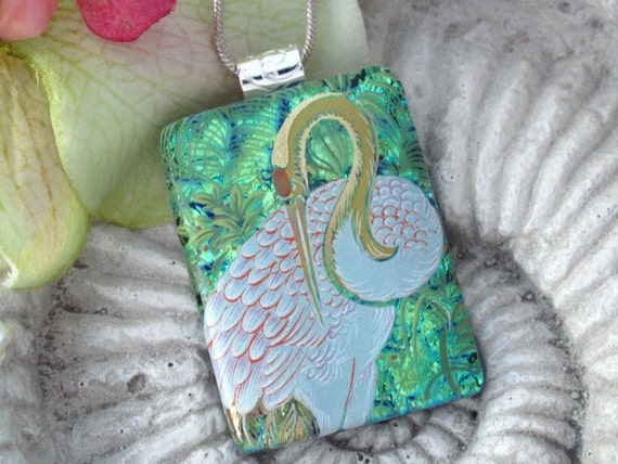 Bird Necklace - Dichroic Fused Glass Jewelry - Exotic Bird Crane - Dichroic Necklace -  Fused Dichroic Glass Pendant & Necklace 041212p103