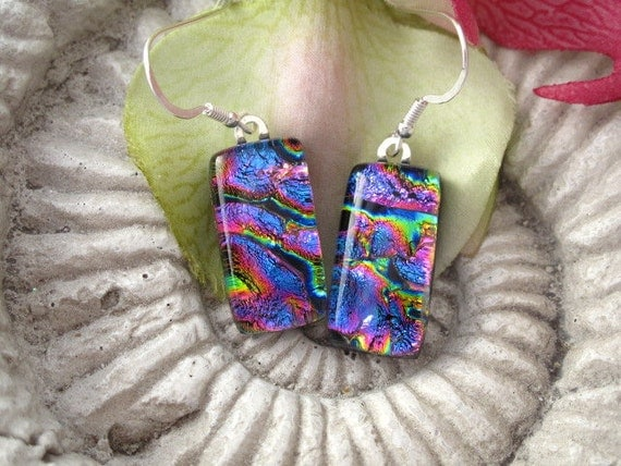 Dichroic Glass Earrings - Pink Purple Ripple -  Dichroic Fused Glass Jewelry -  Fused Glass Earrings 041412e100