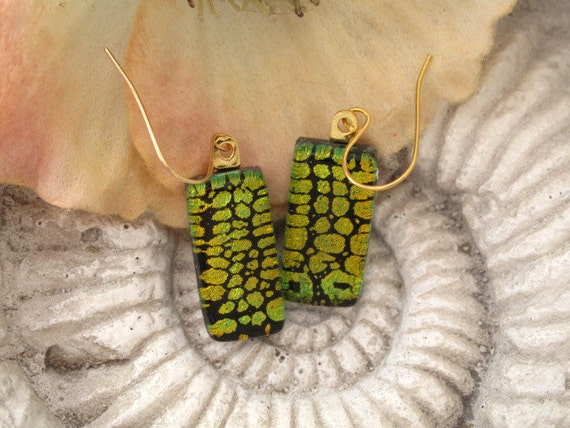 Dichroic Glass Earrings - Dichroic Fused  lass Jewelry - 14KT Gold Filled - ReptileStripe  - 041412e114