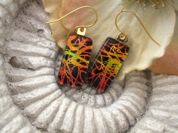 Dichroic Earrings - Dichroic Fused Glass Jewelry - Golden Red - Fused Dichroic Glass 14KT Gold Filled Earrings 041612e105