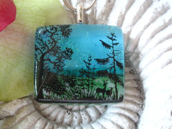 Spring  Deer Forest - Dichroic Fused Glass Jewelry - Fused Glass Pendant -  Dichroic Pendant 04202012p108