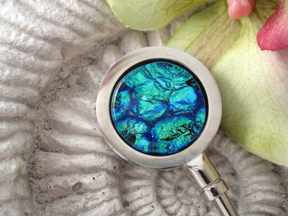 Purse Hanger - Purse Hook - Dichroic Purse Hanger - Blue -  Fused Glass - Fused Dichroic Glass Jewelry 042412ph112