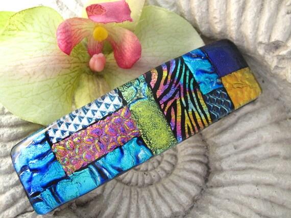 Large - Dichroic Glass Barrette - Hair Barrette - French Barrette - Mosaic Style - Fused Glass Barrette -  Fused Glass Hair Clip 042512b103