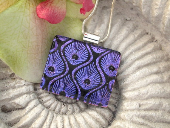 Art Deco Style - Purple - Dichroic Fused Glass Jewelry - Dichroic Pendant  - Fused Dichroic Glass Pendant and Necklace 042512p114