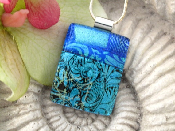 Dichroic Fused Glass Jewelry - Fused Glass Pendant - Dichroic Glass Pendant Necklace 050112p106