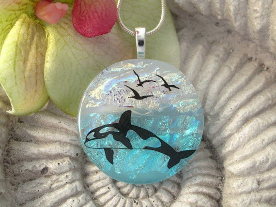 Whale Watching - Dichroic Fused Glass Jewelry - Dichroic Pendant & Necklace 050312p101