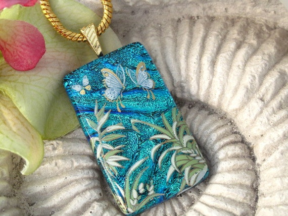 Dichroic Glass Pendant - Butterfly  - Fused Dichroic Glass Jewelry - Dichroic Glass Necklace - Floral Garden - 051812p104