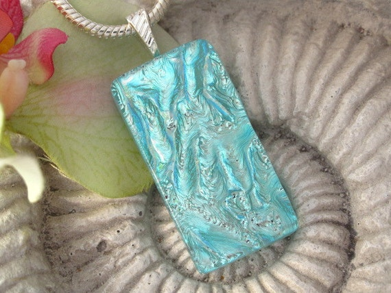 Dichroic Fused Glass Jewelry, Fused Glass Pendant, Icy Aqua Silver Ripple Necklace 051912p116