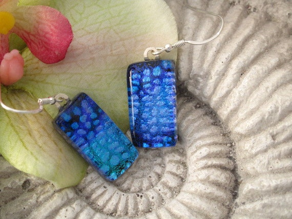 Blue Purple Lavender - Dichroic Glass Earrings - Dichroic Fused Glass Jewelry  -Fused Glass Earrings 051912e121