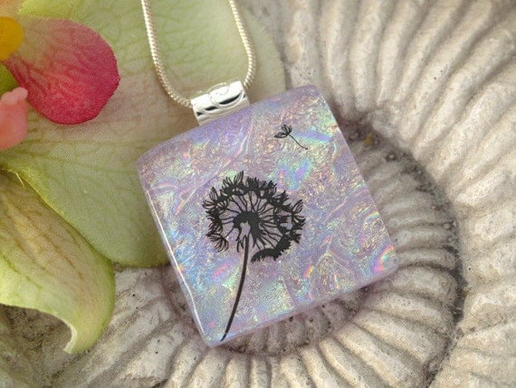 Dandelion Wish Necklace - Flower necklace-Dichroic Glass Pendant -  Dichroic Fused Glass Jewelry -Lavender Pendant 060312p100