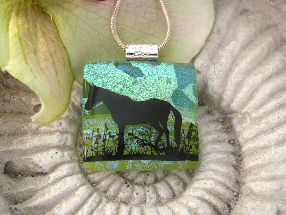 Horse Necklace - Horse Pendant - Dichroic Glass Jewelry - Dichroic Fused Glass Jewelry -  Dichroic Necklace 060312p103