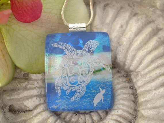 Turtle Necklace -Dichroic Glass Necklace - Sea Turtle - Dichroic Fused Glass Jewelry - Fused Glass Jewelry - Blue Pendant 060312p102