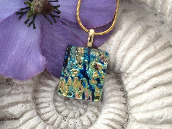 Dichroic Glass Pendant - Petite - Dichroic Glass Pendant - Fused Glass Pendant -  Fused Dichroic Glass Jewelry  060312p108