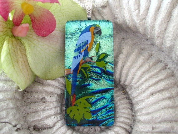 Dichroic Glass Pendant -McCaw Parrot - Exotic Bird - Dichroic Fused Glass Jewelry - Fused Glass - Necklace Dichroic Jewelry - 060312p118