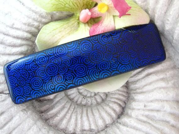 Dichroic Glass Barrette - Hair Barrette - French Barrette - Deep Blue -  Fused Dichroic Glass Barrette -  Fused Glass Hair Clip 060412b103