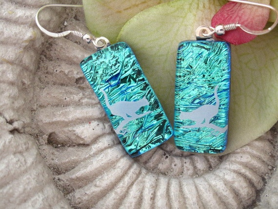 Cat On A Limb - Dichroic Glass Earrings - Dichroic Fused Glass Jewelry -  Sterling -  Surgical Steel Earrings 060512e103
