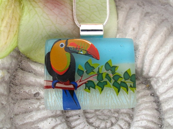 Dichroic Glass Pendant - Toucan-  Dichroic Fused Glass Jewelry - Dichroic Pendant and Necklace 060712p101