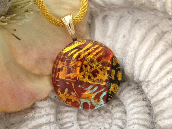 Dichroic Jewelry - Copper Fused Glass- Fused Glass Jewelry - Fused Dichroic Glass Necklace 061112p105