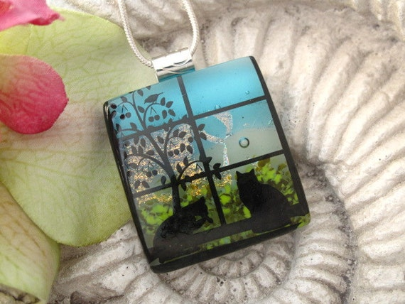 Cat Necklace Jewelry - Fused Glass Pendant -Dichroic Fused Glass Jewelry  - Cat Pendant  - Glass Necklace -  Daily Rituals - 061112p110rl