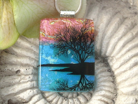 Reflection Tree - Dichroic  Fused Glass Jewelry -  Necklace - Fused  Glass Pendant - 061212p102