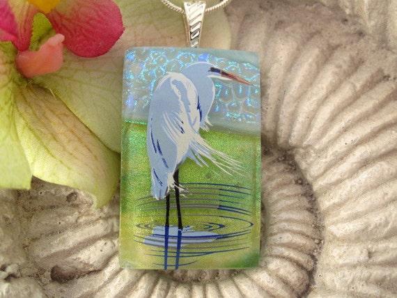 Heron Pendant - Heron Necklace - Dichroic Blue Heron  - Dichroic Fused Glass Jewelry - Fused Glass - Necklace Dichroic Jewelry - 062512p100