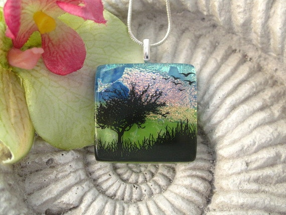 Tree Bird Pendant Necklace - Dichroic Fused Glass Jewelry -  Sunset Tree - Birds- Pendant - Dichroic Glass 062512p103