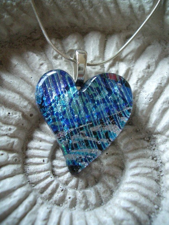 Tapestry Blue Velvet Fused Dichroic Glass Free Form Contemporary Heart Pendant 112008p101
