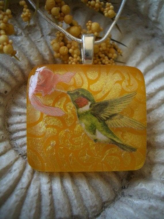 Hummingbird Garden Fused Glass Dichroic Pendant Necklace 040909p107