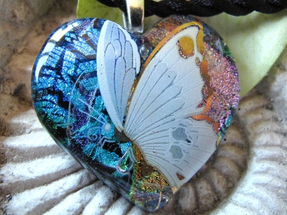 Butterfly Fused Dichroic Glass Heart Pendant Necklace 090709p106a