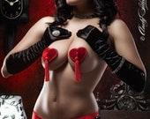 Red Valentine Velvet Heart Burlesque Pasties Easy Twirling