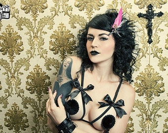 Couture Velvet Noir Burlesque Pasties  Easy Twirling