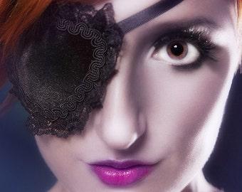 Gothic Lolita Black Velvet Eye Patch