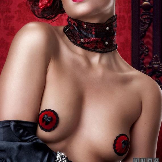 Lush Red Velvet Bow Deluxe Burlesque Pasties