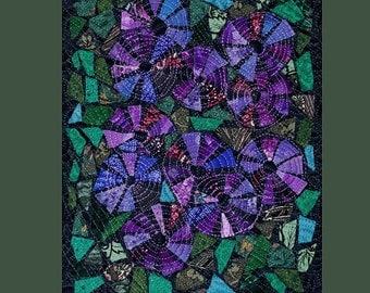 Spring Violets Fabric Mosaic Cubicle Art