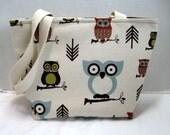 Owls Tote Purse Medium Natural Inside Pockets Ready to Ship