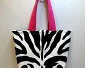 Zebra Mini Purse - Zebra Tiny Tote - Animal Print Gift Bag - Hot Pink Handles - Fabric Gift Bag