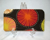 Sunbursts Zippered Pouch Dark Chocolate