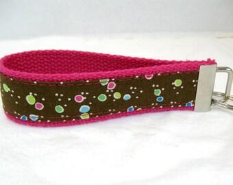 HALF OFF Dots Keychain PINK Key Fob Fabric Wristlet