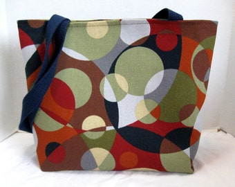 Kaleidoscope Large Purse - Circles Tote Bag - Modern Handbag -Inside Pockets - Brown Navy Rust