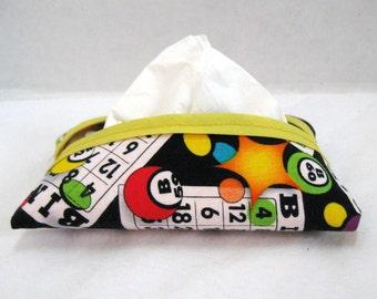 BINGO Tissue Holder Purse Size Tissue Cozy Fabric Tissue Case